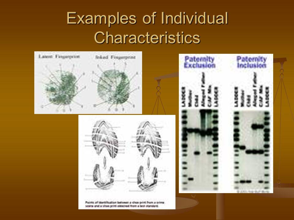 Examples of Individual Characteristics