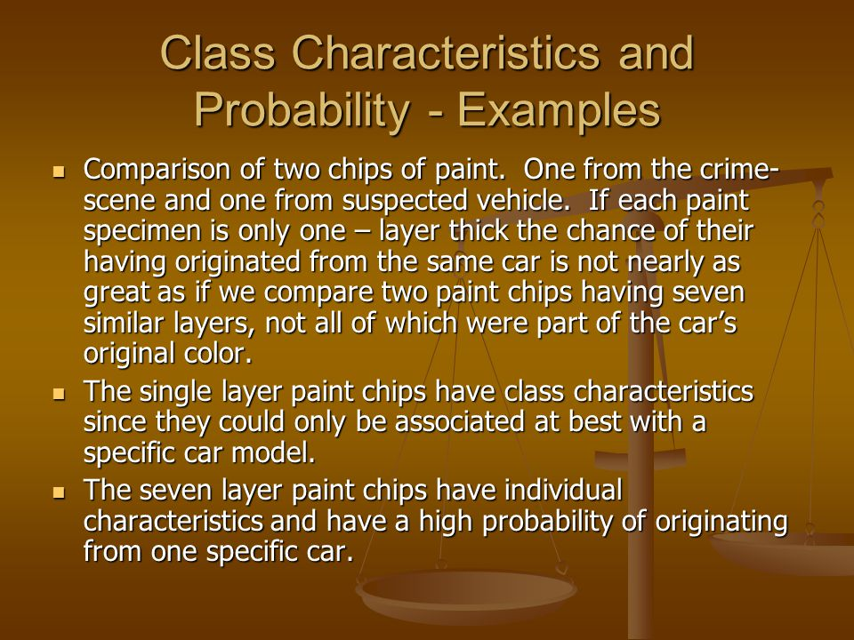 Class Characteristics and Probability - Examples