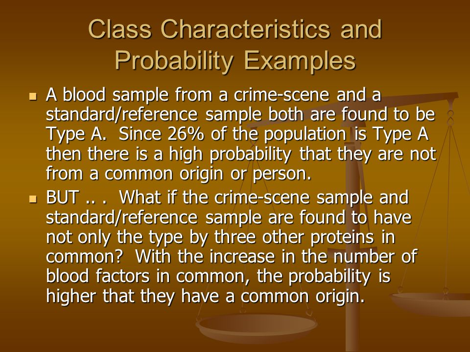 Class Characteristics and Probability Examples