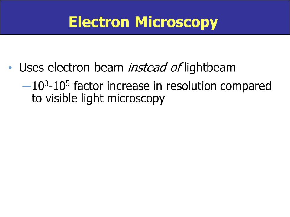 Electron Microscopy Uses electron beam instead of lightbeam