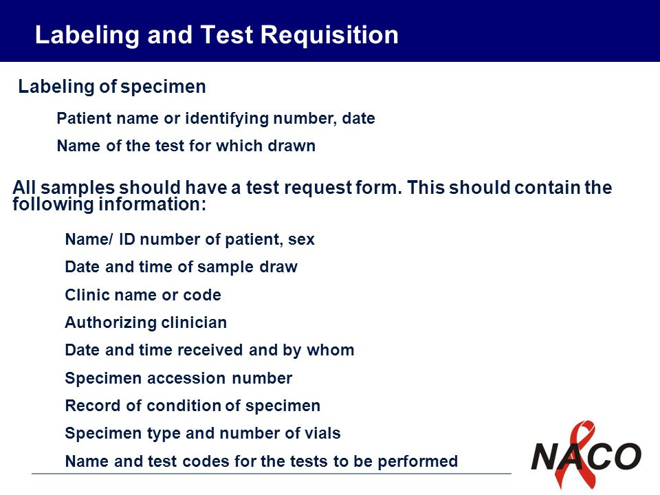 Labeling and Test Requisition