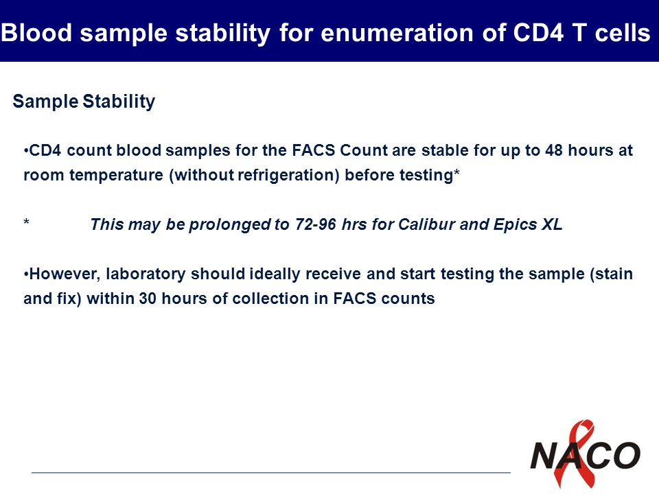 Blood sample stability for enumeration of CD4 T cells