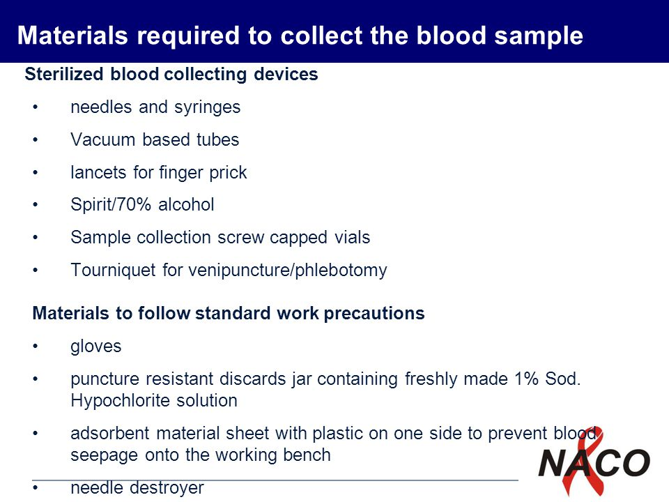 Materials required to collect the blood sample