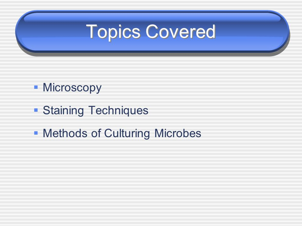 Topics Covered Microscopy Staining Techniques
