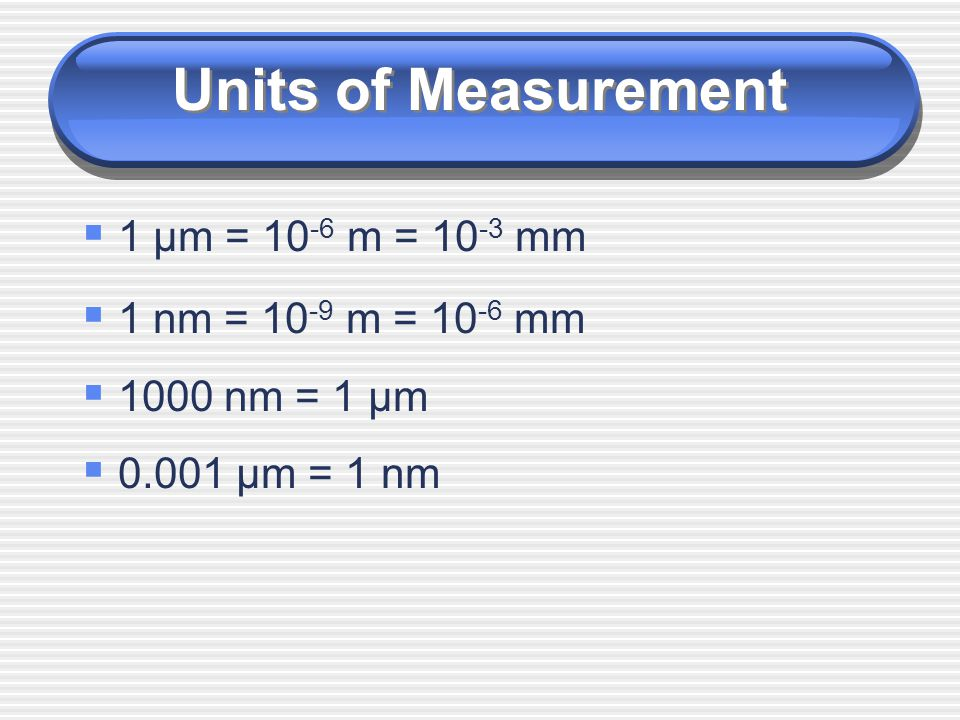 Units of Measurement 1 µm = 10-6 m = 10-3 mm 1 nm = 10-9 m = 10-6 mm