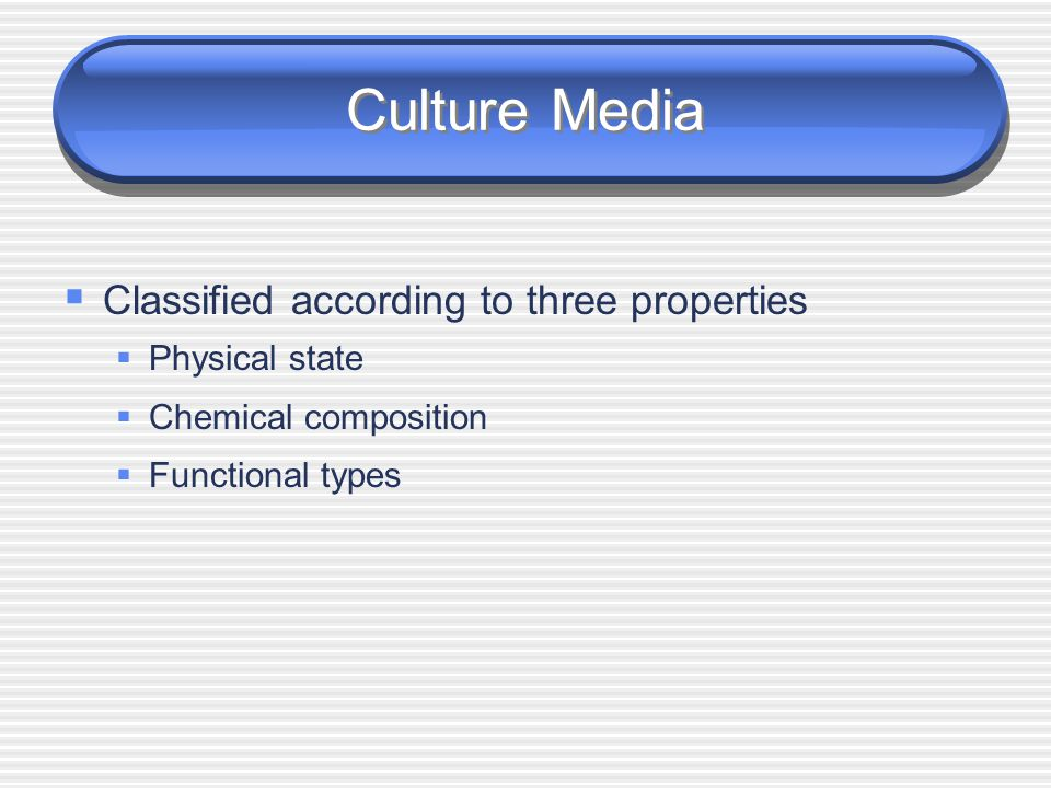 Culture Media Classified according to three properties Physical state