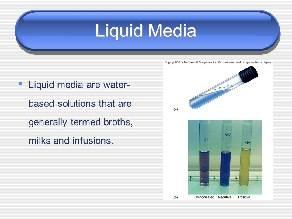 Liquid Media Liquid media are water-based solutions that are generally termed broths, milks and infusions.