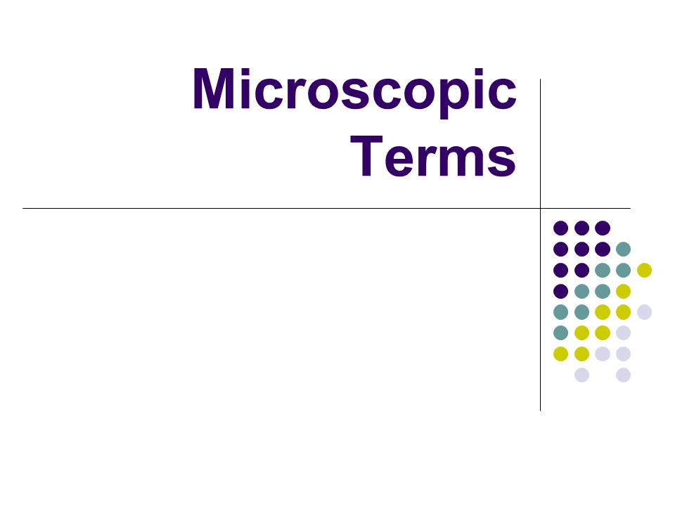 Microscopic Terms