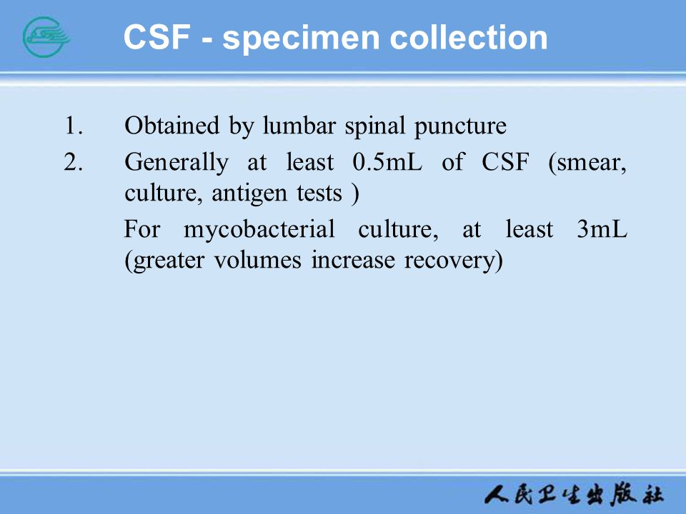 CSF - specimen collection