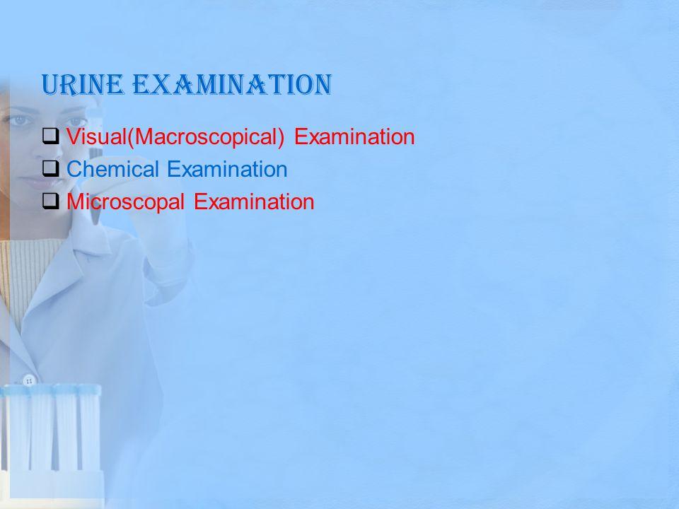 Urine examination Visual(Macroscopical) Examination
