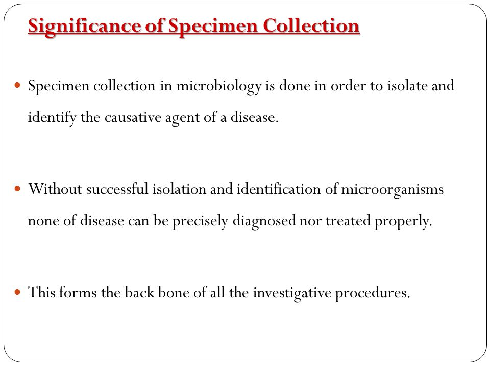 Significance of Specimen Collection