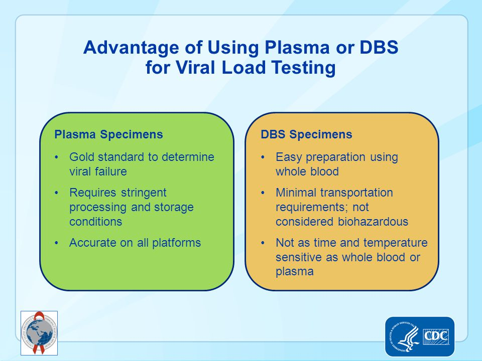 Advantage of Using Plasma or DBS for Viral Load Testing