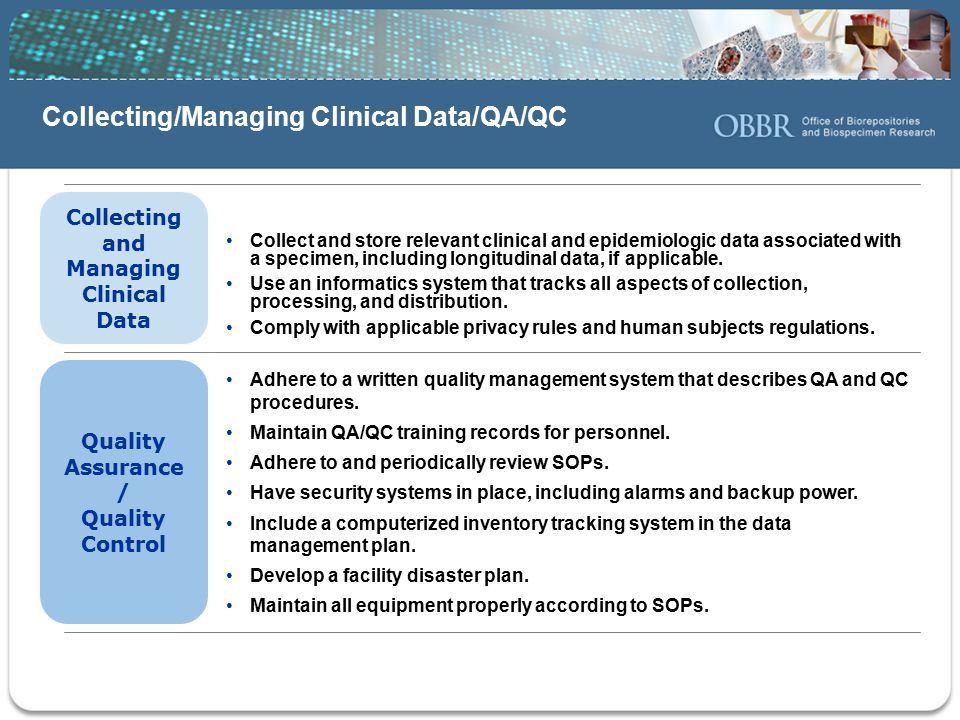 Collecting/Managing Clinical Data/QA/QC