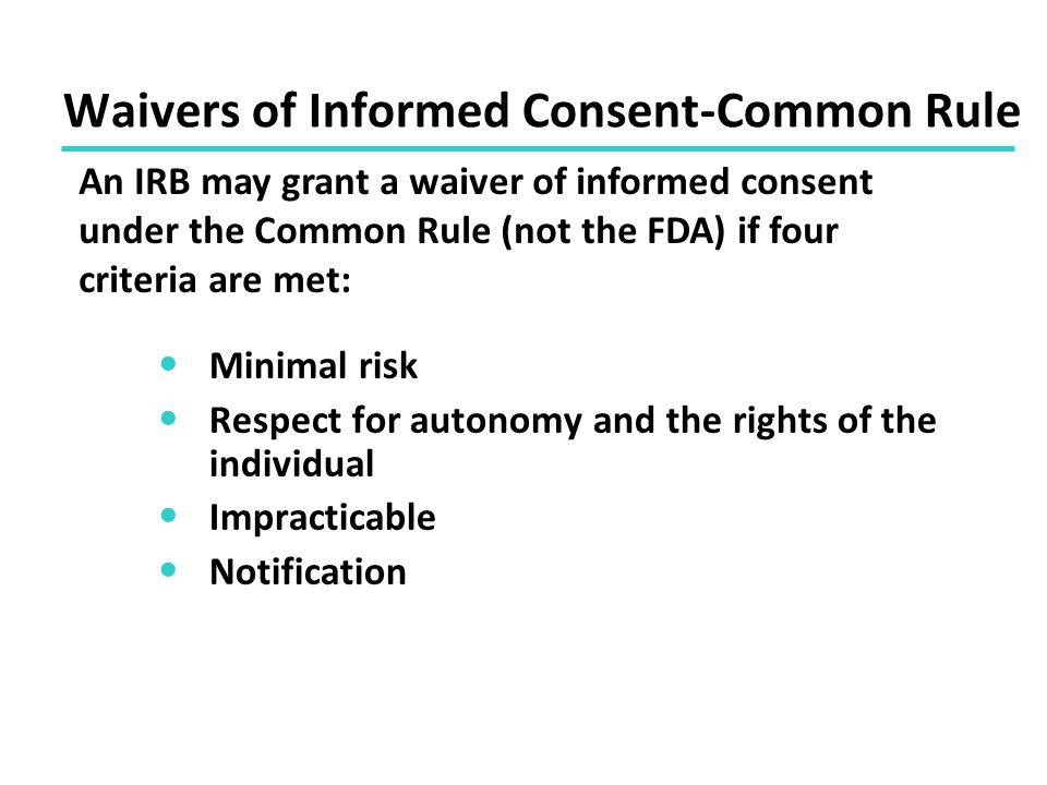 Waivers of Informed Consent-Common Rule