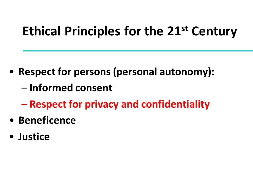 Ethical Principles for the 21st Century