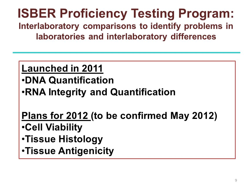 ISBER Proficiency Testing Program: Interlaboratory comparisons to identify problems in laboratories and interlaboratory differences