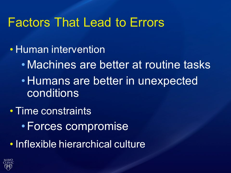 Factors That Lead to Errors