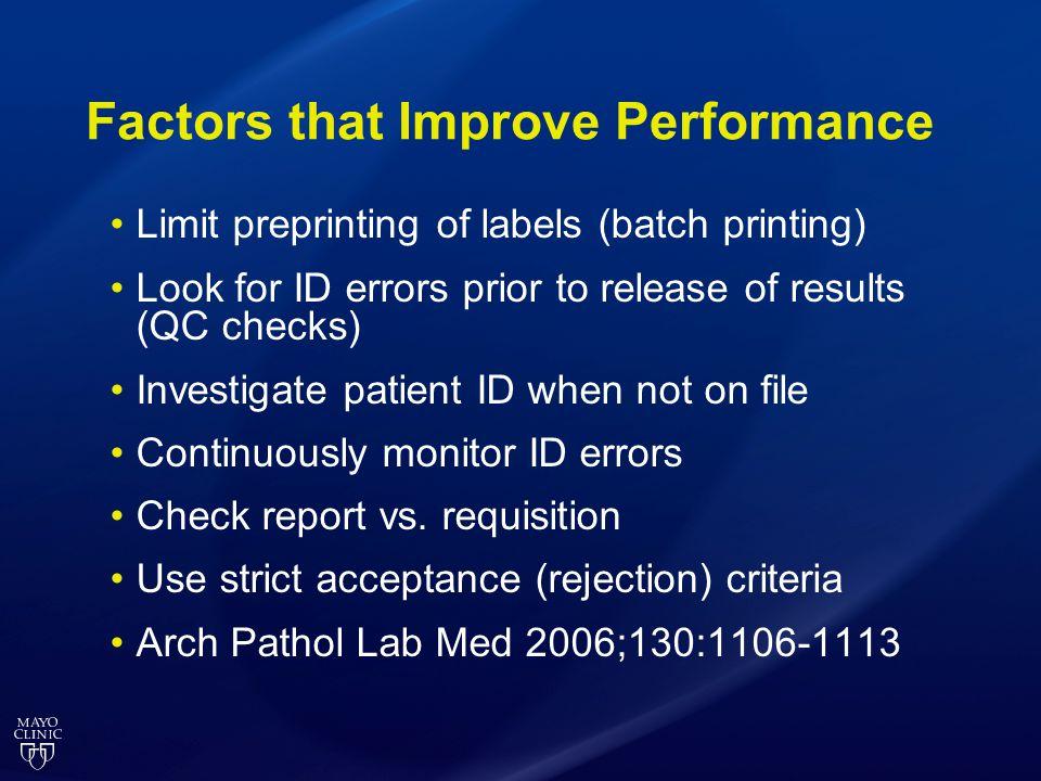 Factors that Improve Performance