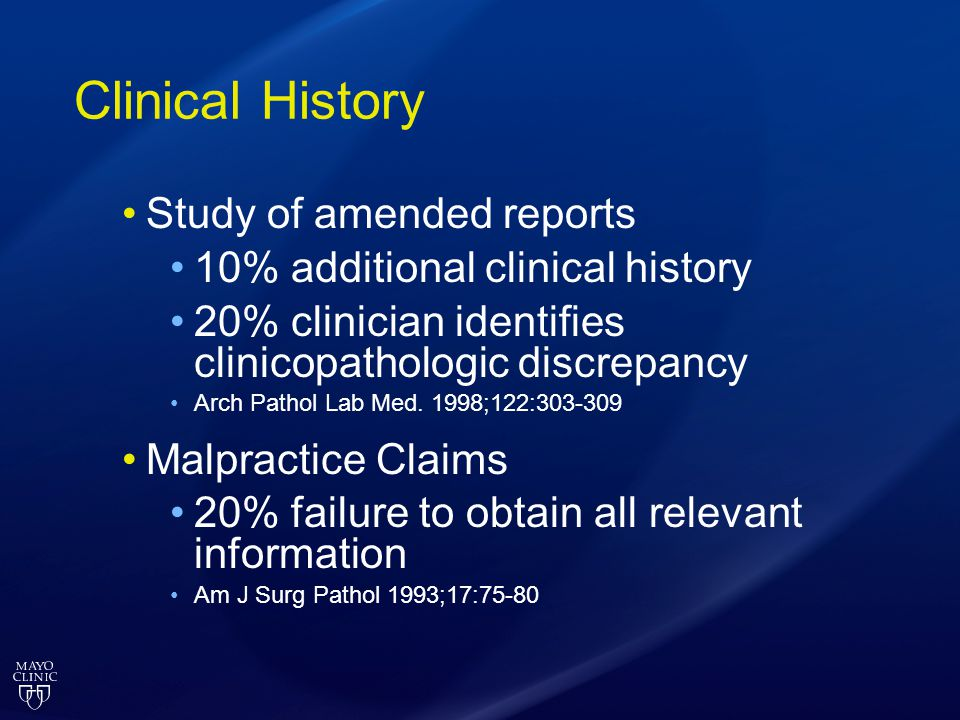 Clinical History Study of amended reports