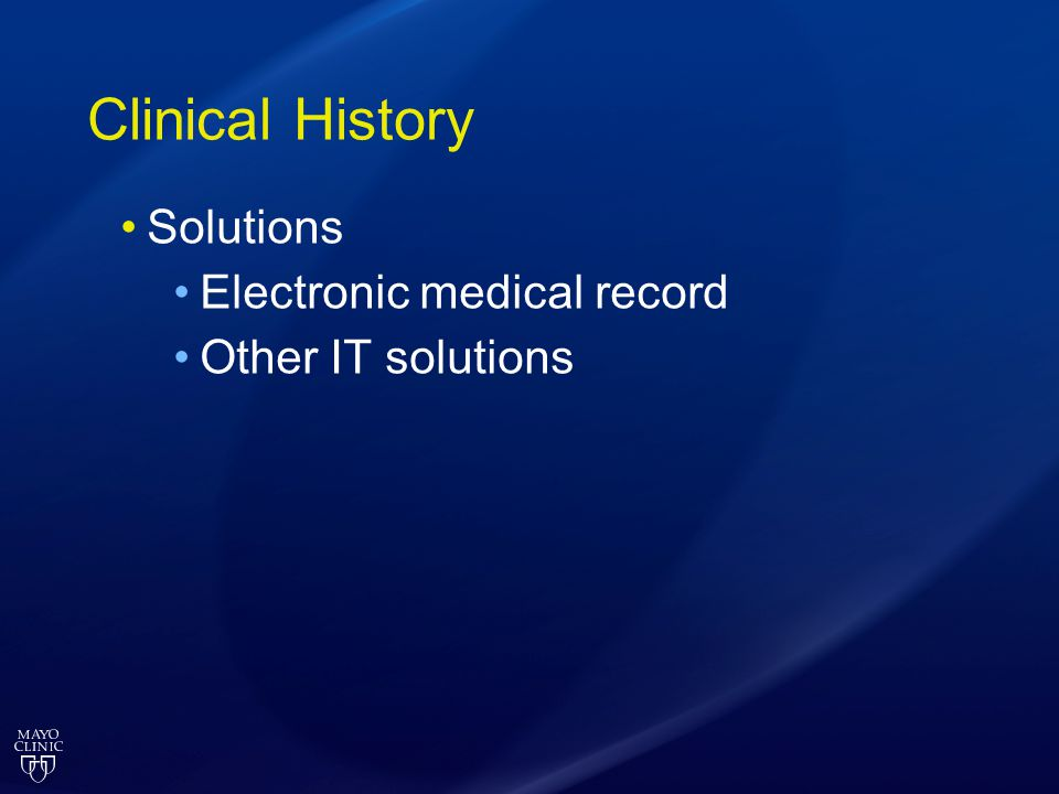 Clinical History Solutions Electronic medical record