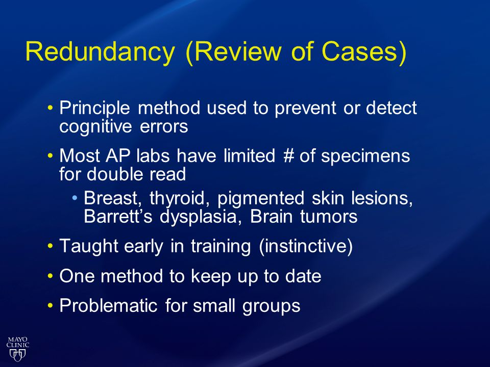 Redundancy (Review of Cases)