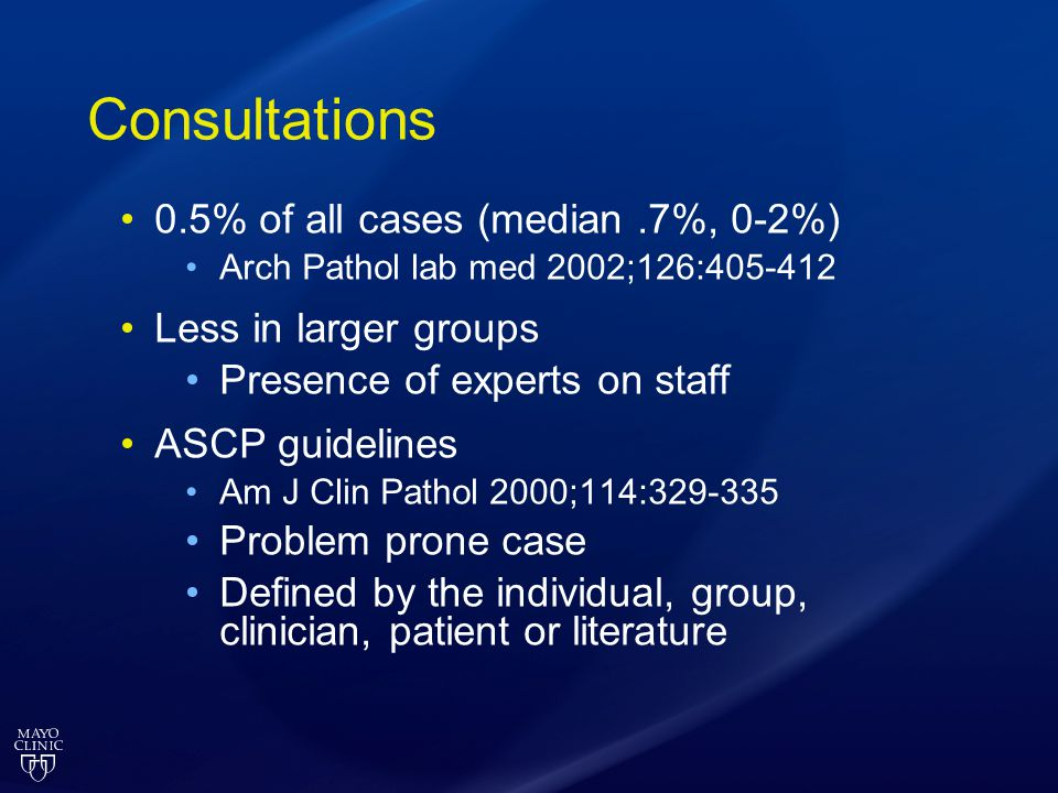 Consultations 0.5% of all cases (median .7%, 0-2%)