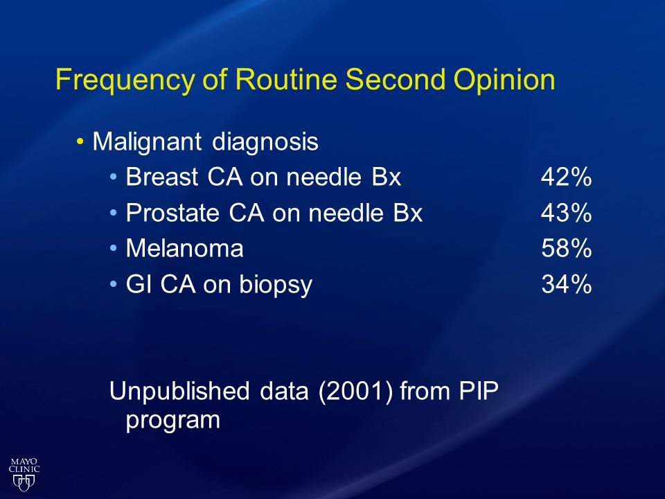 Frequency of Routine Second Opinion