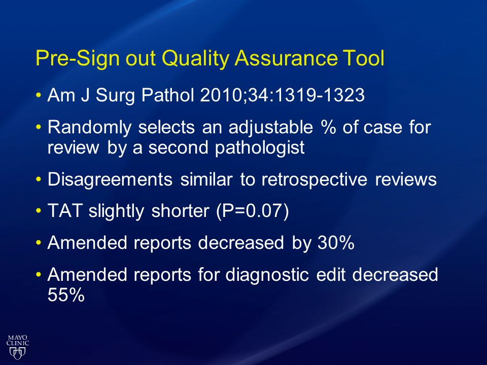 Pre-Sign out Quality Assurance Tool