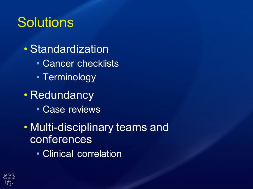 Solutions Standardization Redundancy