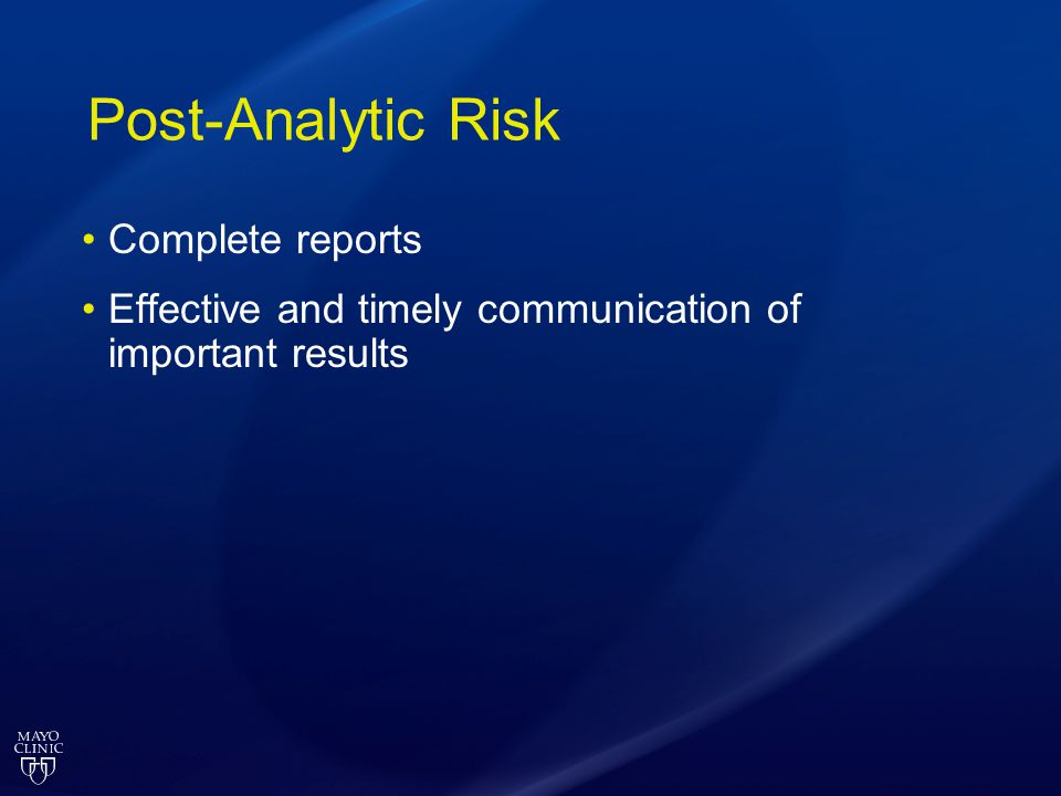 Post-Analytic Risk Complete reports