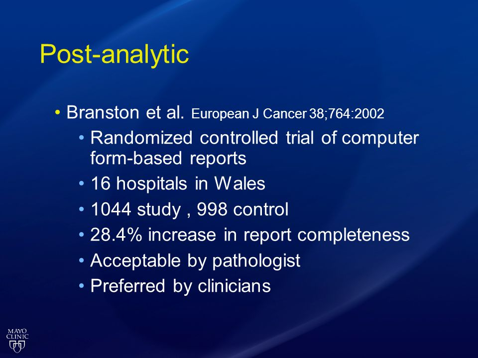 Post-analytic Branston et al. European J Cancer 38;764:2002