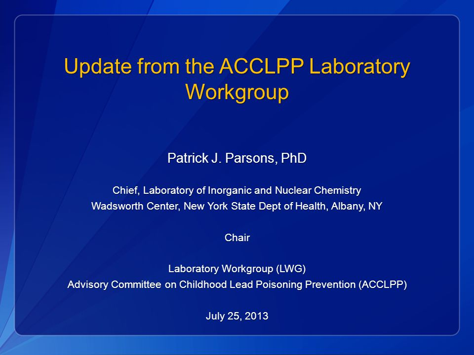 Update from the ACCLPP Laboratory Workgroup