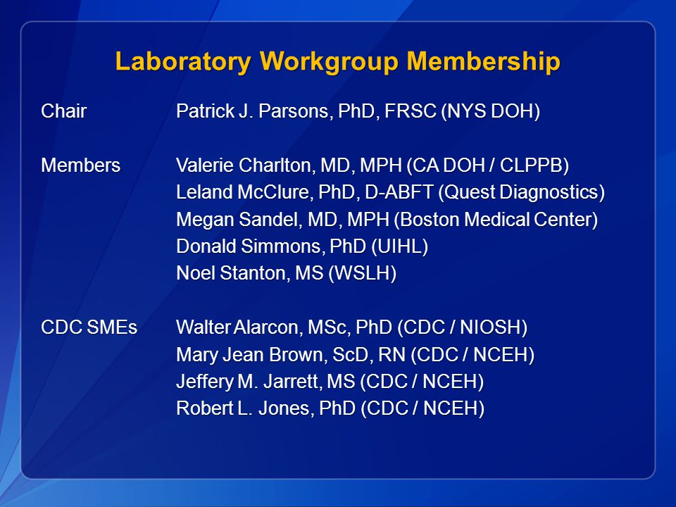 Laboratory Workgroup Membership