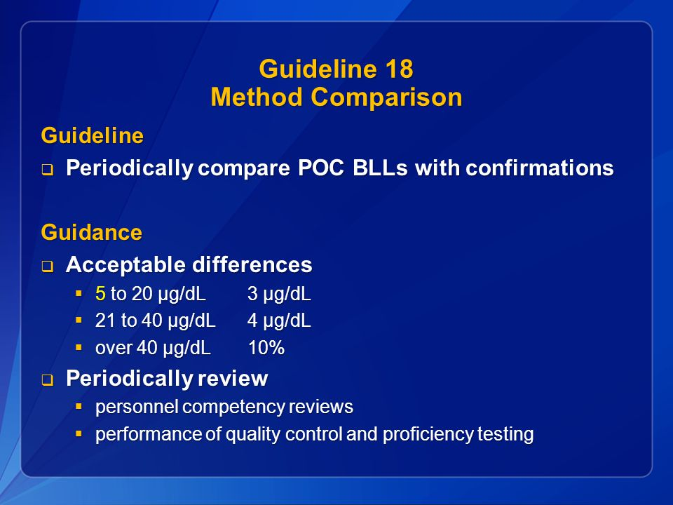Guideline 18 Method Comparison