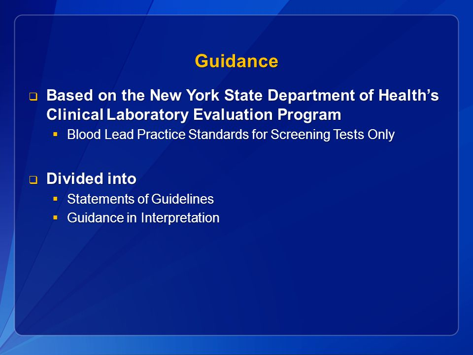 Guidance Based on the New York State Department of Health's Clinical Laboratory Evaluation Program.