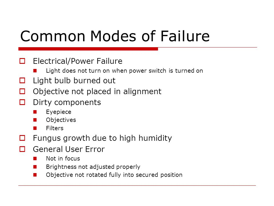 Common Modes of Failure