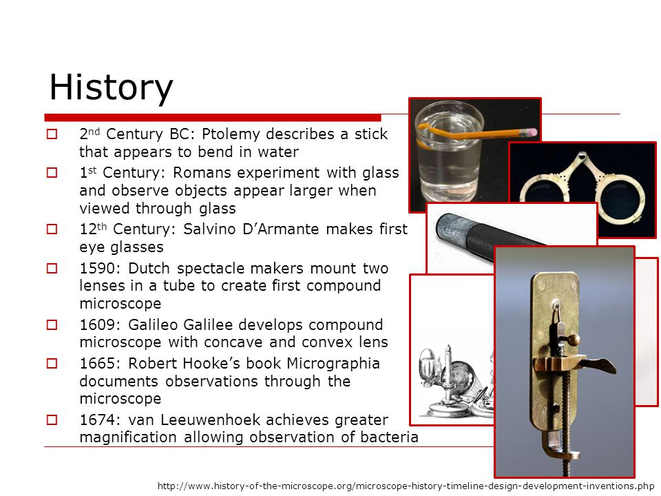 History 2nd Century BC: Ptolemy describes a stick that appears to bend in water.