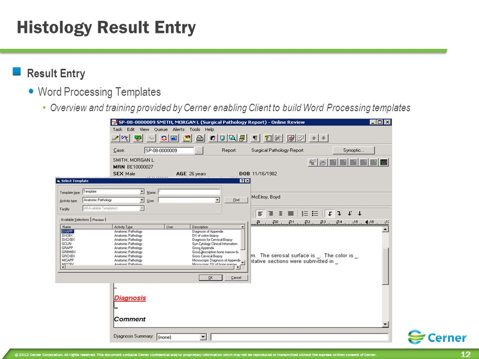 Cytology Result Entry Result Entry