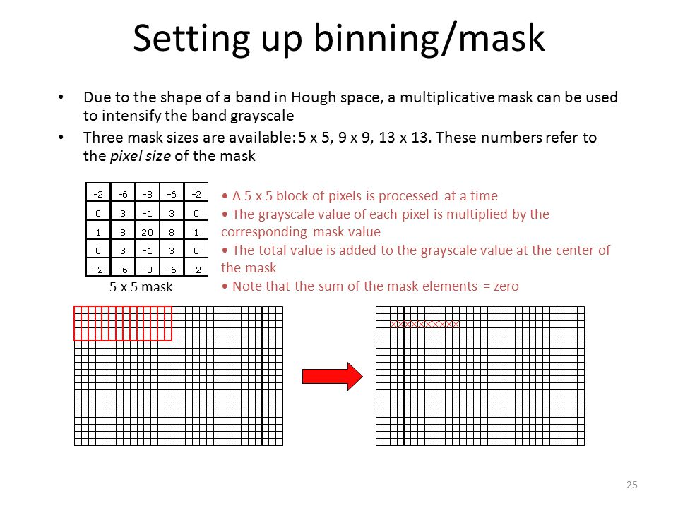 Setting up binning/mask