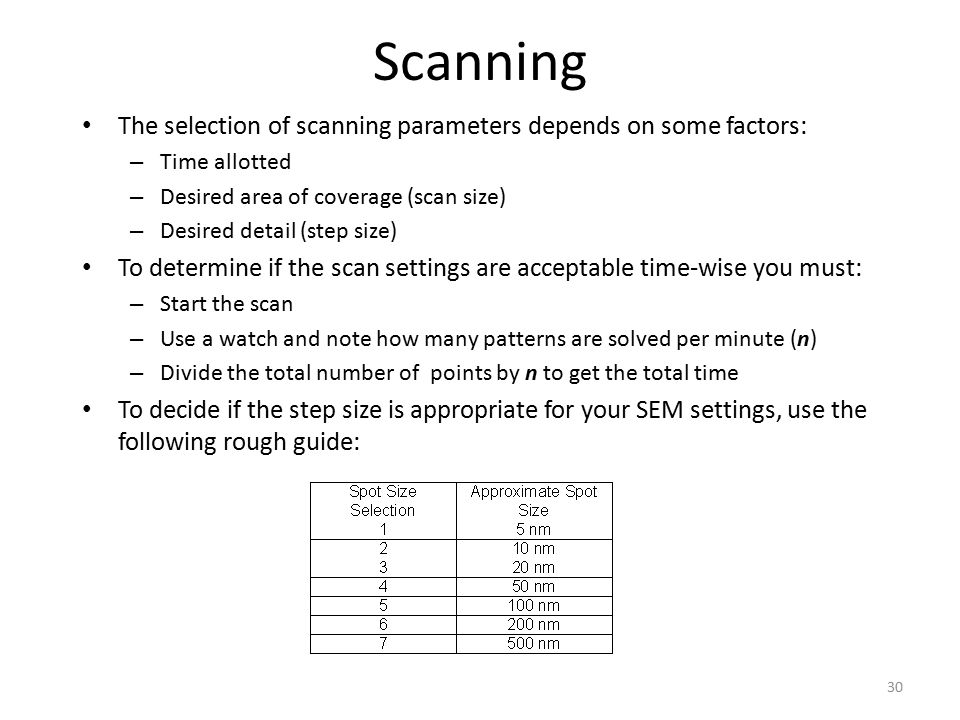 Scanning The selection of scanning parameters depends on some factors: