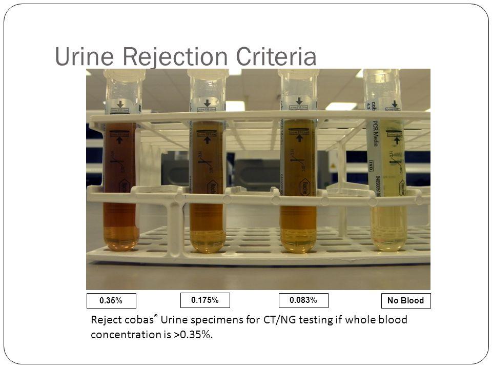 Urine Rejection Criteria
