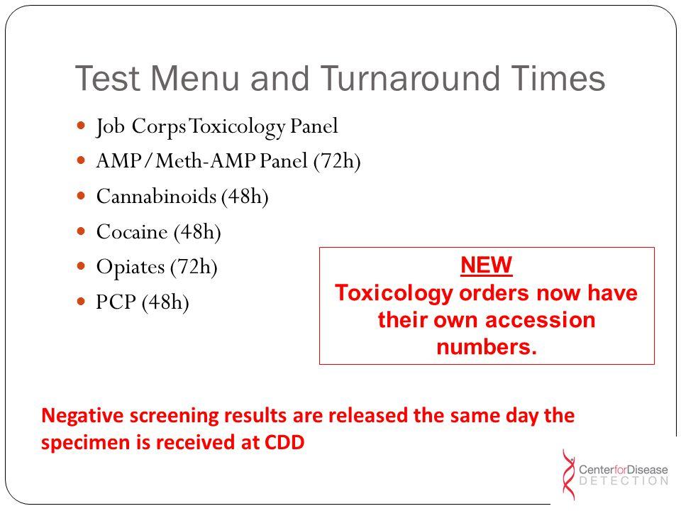 Test Menu and Turnaround Times