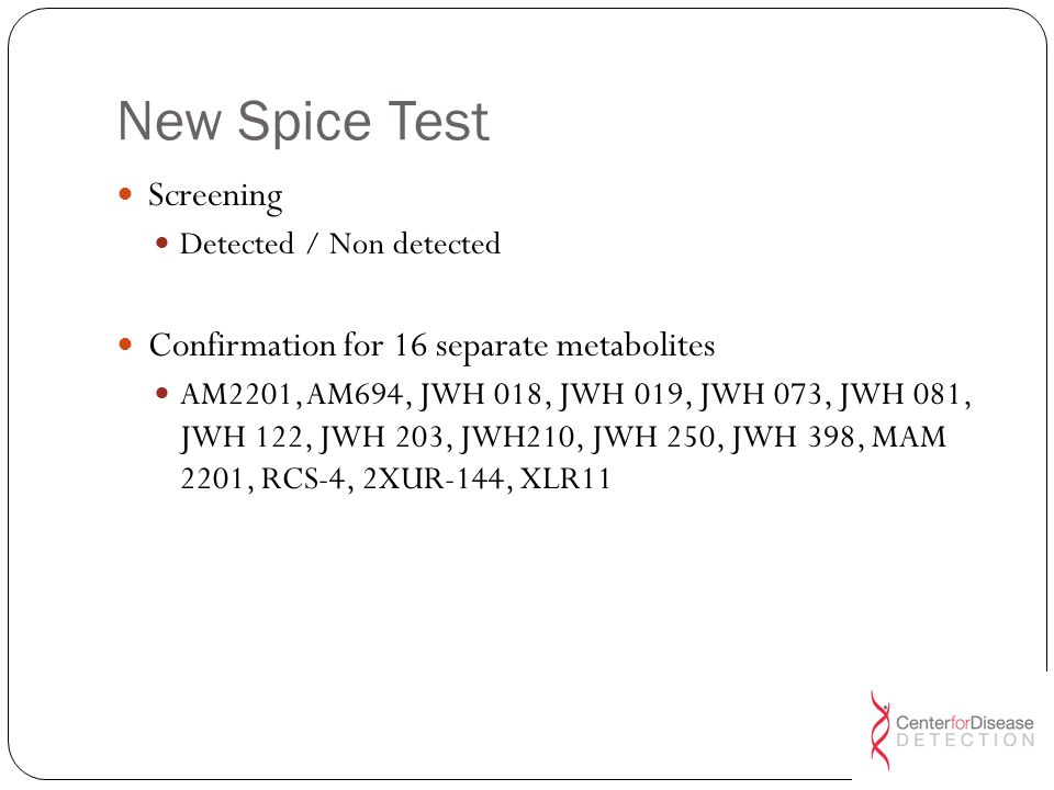 New Spice Test Screening Confirmation for 16 separate metabolites