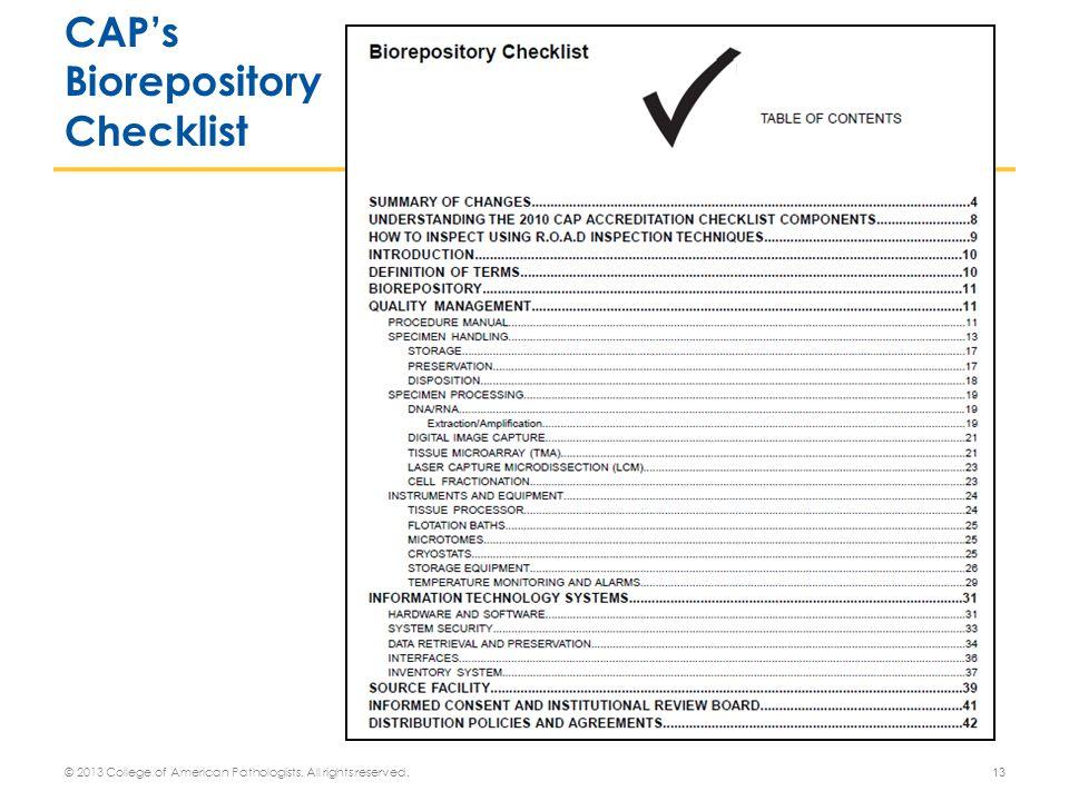 CAP's Biorepository Checklist