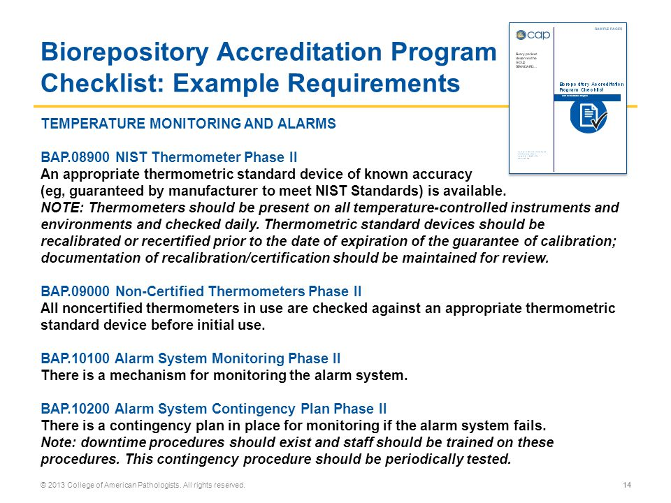 Biorepository Accreditation Program Checklist: Example Requirements