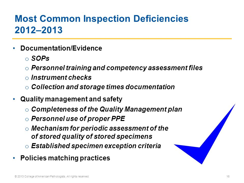 Most Common Inspection Deficiencies 2012–2013
