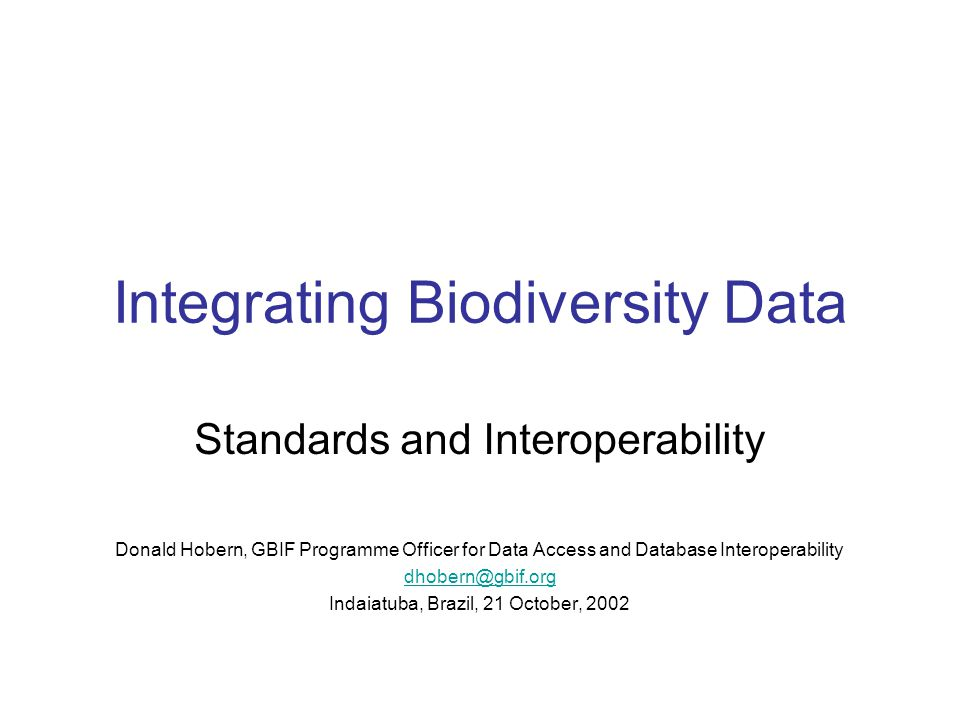 Integrating Biodiversity Data