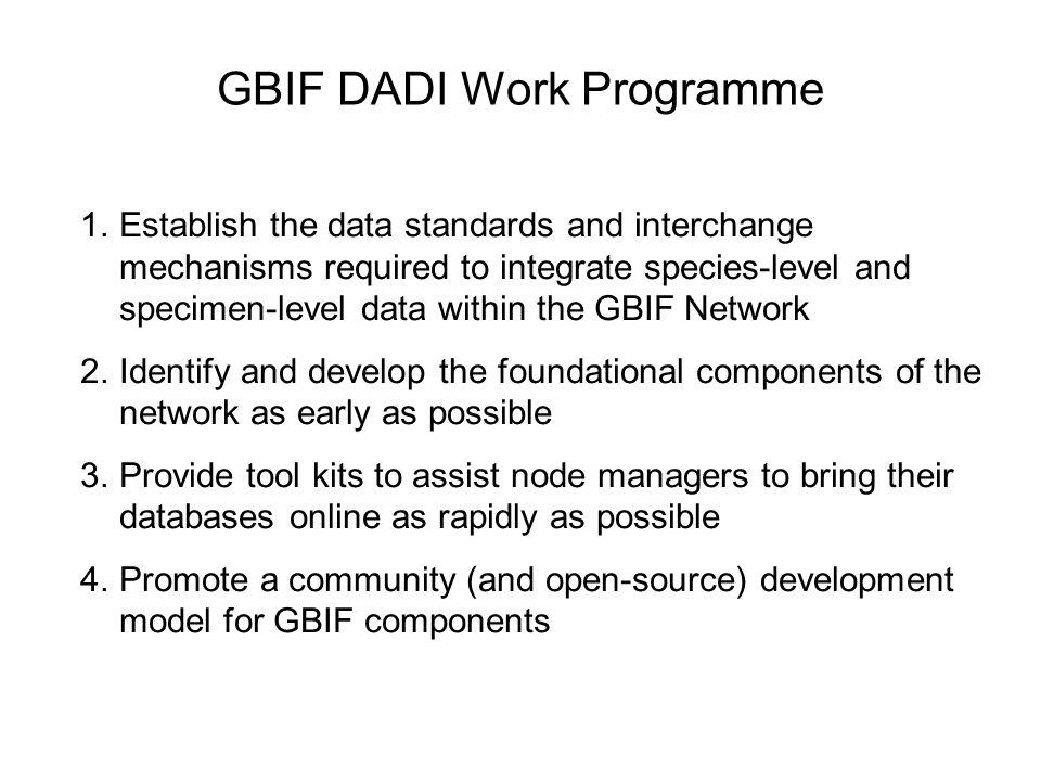GBIF DADI Work Programme