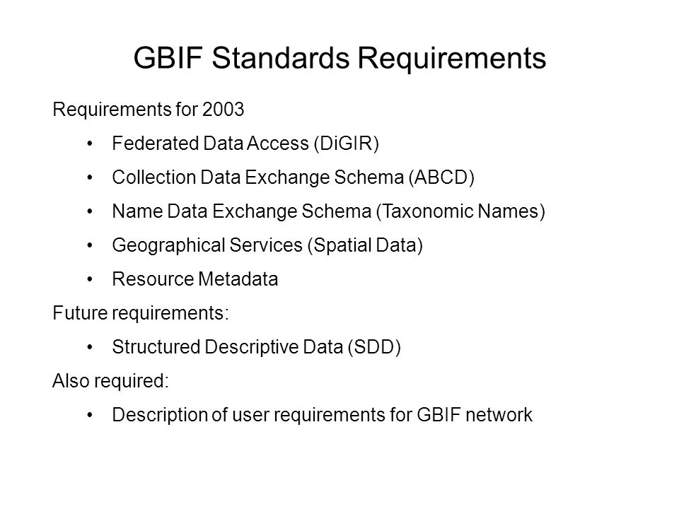 GBIF Standards Requirements