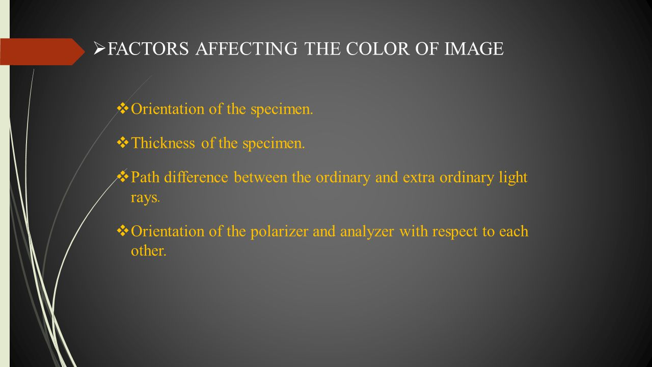 FACTORS AFFECTING THE COLOR OF IMAGE
